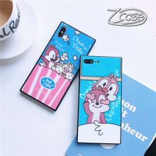 Cute Cartoon Kangaroo Square Phone Case For iPhone XS MAX XR X Tempered Glass Cover 7 8 6 6S Plus Funda Cap