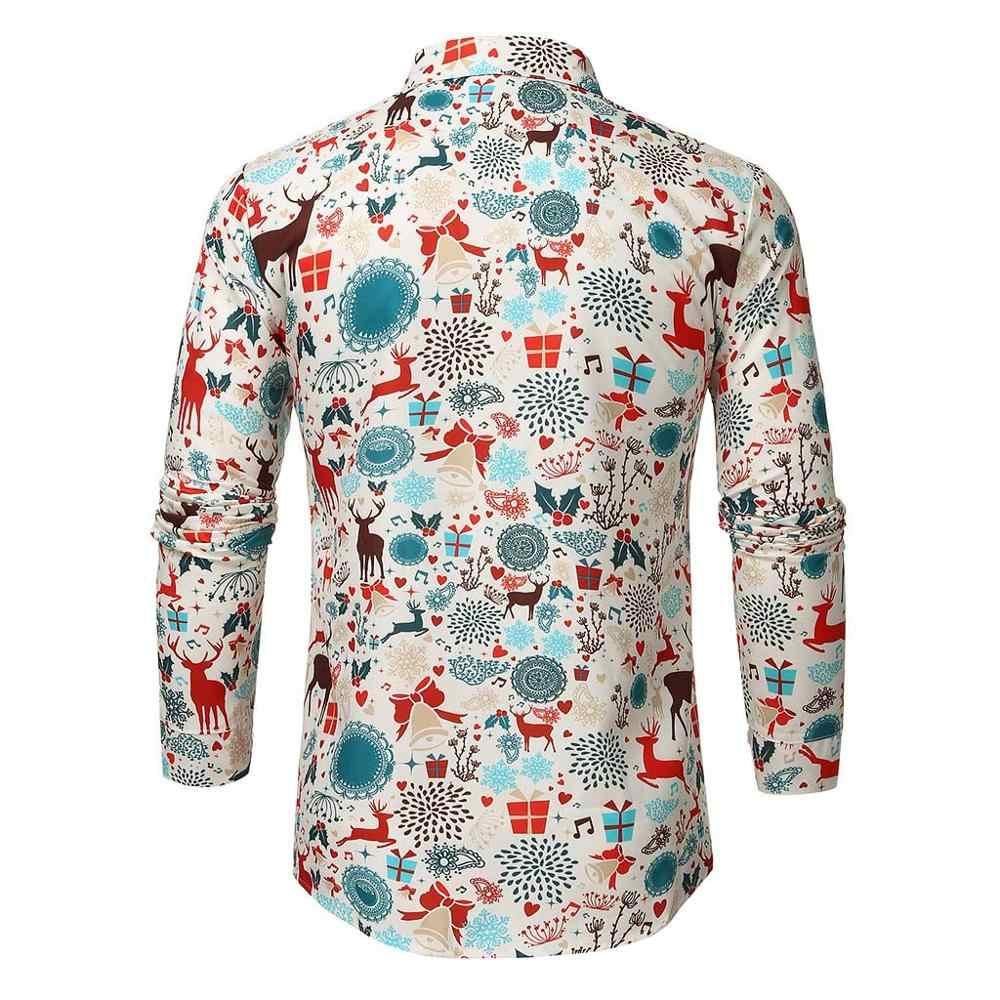 Camisa de Navidad para hombre moda Casual manga larga botón pintura gran tamaño blusa camisas hombre camisa hawaiana camisas de hombre