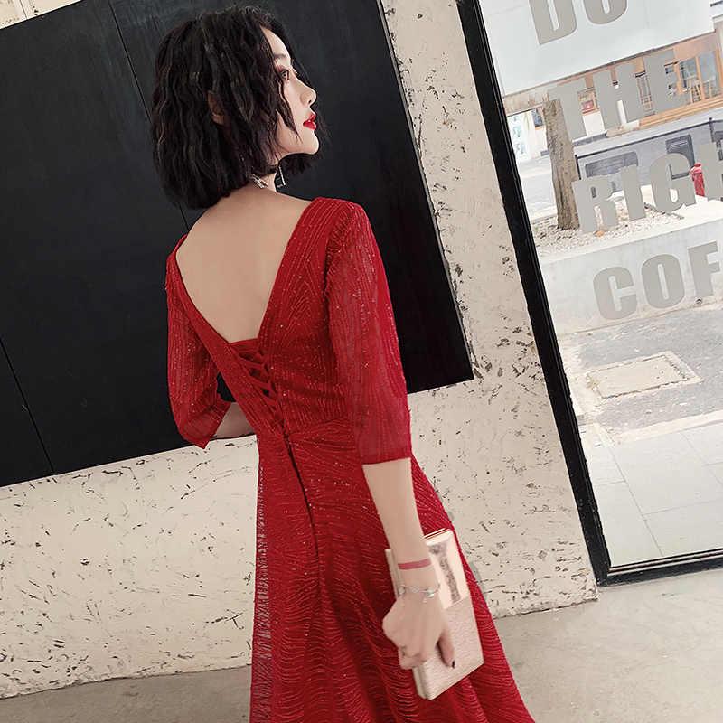 AE543 2019 Vestiti Da Sera Lunghi O-Collo di A-Line Mezza Manica Sexy Donne Eleganti Abiti di Sera Robe De Soiree