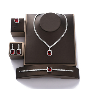 Image 3 - طقم مجوهرات HADIYANA خمر مجوهرات حفلات الزفاف مربع عقد من حجر الياقوت القرط سوار وخاتم مجموعة BN7746 Conjunto دي joyas