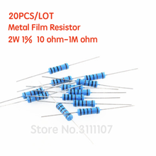 20 шт./лот 2W металлический пленочный резистор 10R ~ 1 м 1% 100R 220R 330R 1K 2,2 K 3,3 K 4,7 K 6,8 K 10K 20K, 47 (Европа) K 100 220 470 680 2K2 3K3 4K7 Ом