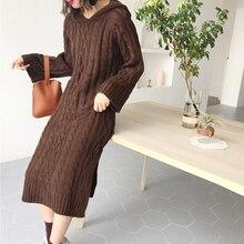Black Brown Hooded Dress Women Long Sleeve Casual Loose Ribb