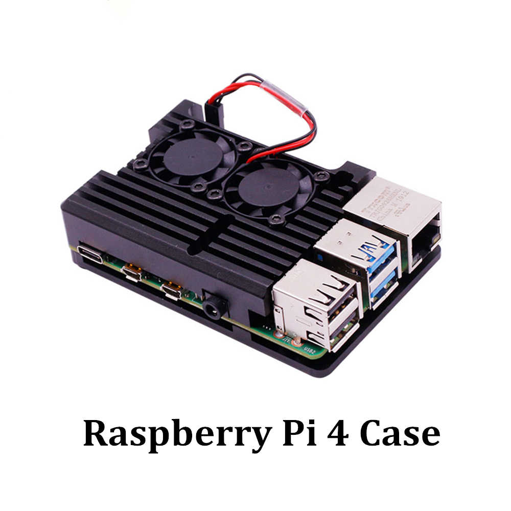 New Raspberry Pi 4 Case Aluminum Metal with Dual Cooling Fan Shell Black Enclosure for RPI 4 Model B