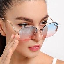 Sunglasses Uv400 Women Oversize Rimless Gradient Female Designer High-Quality New Brand
