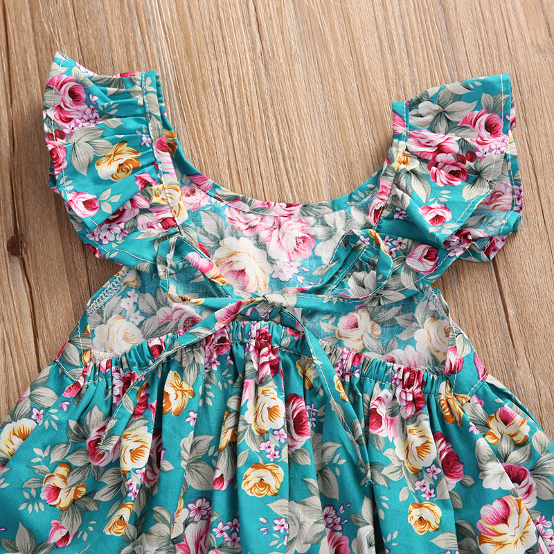 2PCS Summer Cute Sets Newborn Infant Baby Girls Petal Sleeve O-Neck Pullover Floral Print Dress Tops Shorts Outfit 0-5Y 2020