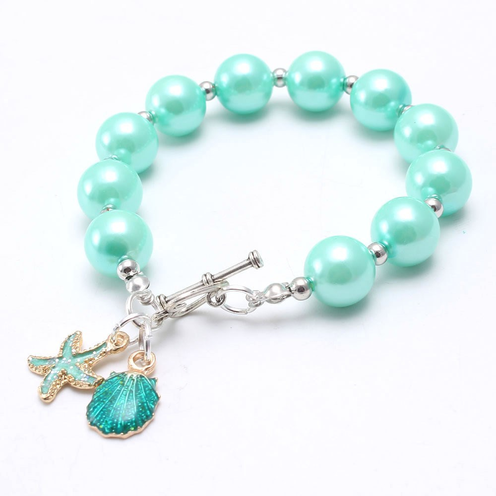 10MM Cute Girls Baby ABS Pearls Beads Bracelet With Starfish Pendants Fashion Color DIY Beaded Bracelets For Children Kids Gift