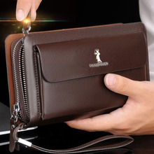 men's wallet double zipper Retro luxury clutch bag leather