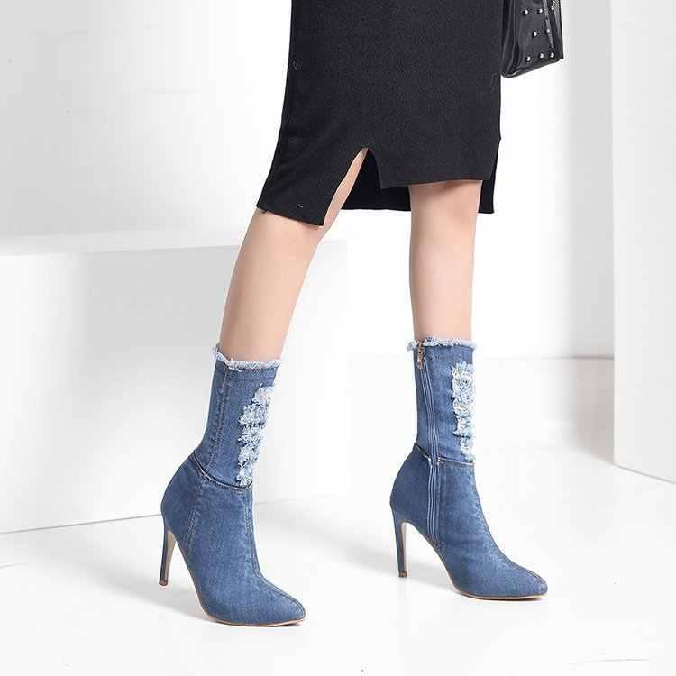 Europa Und Amerika Herbst Und Winter Neue Stil Buskin frauen Stretch Stiefel FRAUEN Stiefel High Heel Stiefel Mitte Stiefel FRAUEN S