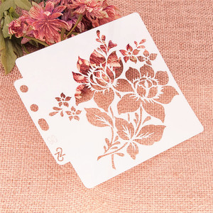 14.1*13CM bouquet shield DIY cake scrapbook stencils hollow Embellishments printing lace ruler Valentine's Day Cover template