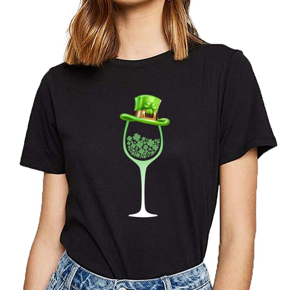 Tops T Shirt Women St Patricks Day Wine Shamrock Irish O-Neck Vintage Custom Female Tshirt