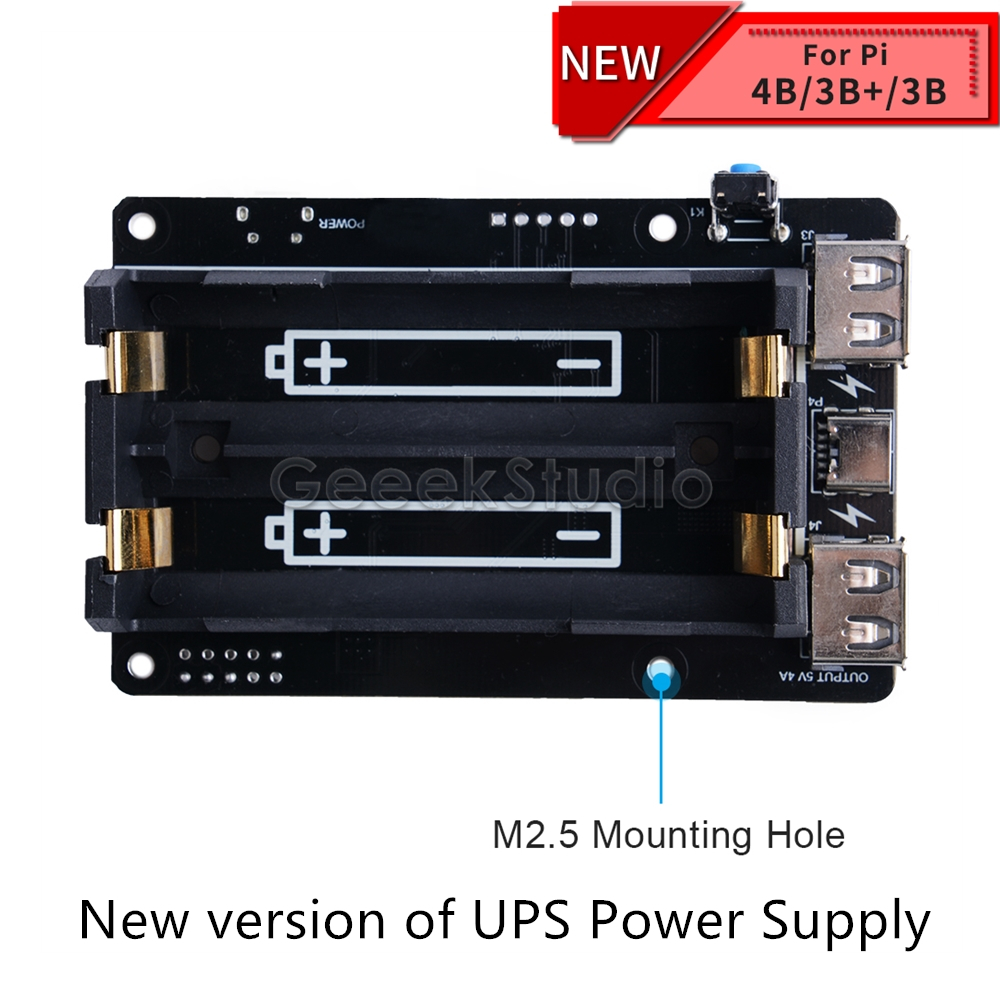 Nouveau dispositif d'alimentation UPS étendu deux ports USBA pour Raspberry Pi 4 B/3B +/3B, Compatible avec la batterie 18650 (non incluse)
