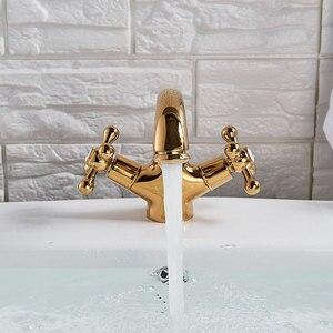 Image 3 - Grifo de baño pulido dorado de latón macizo, grifo de fregadero montado en cubierta, grifo mezclador de agua caliente y fría