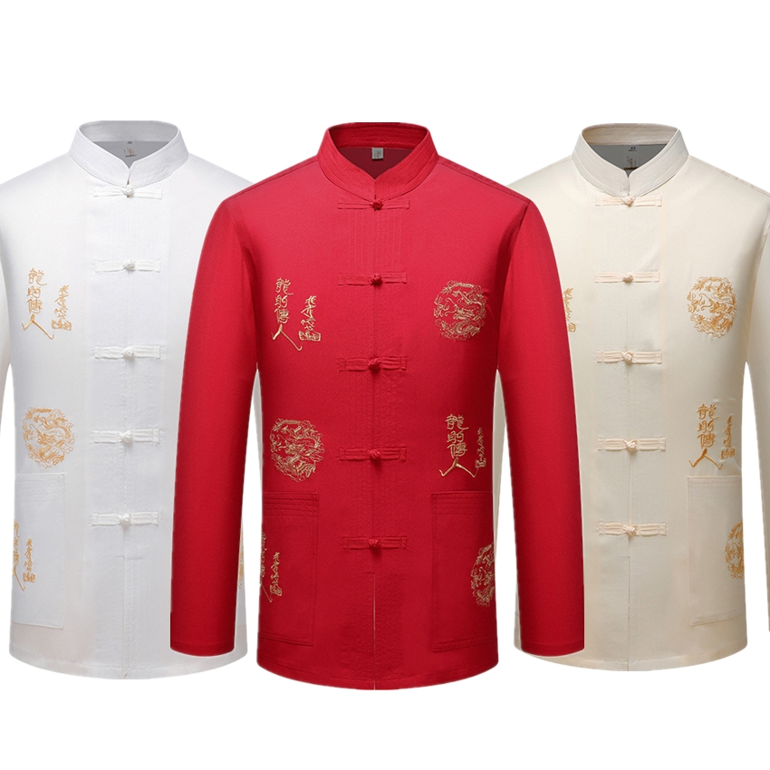 15coloors Traditional Chinese Clothing For Men Tops Jacket Cardigan Dragon Chinese Shirt Solid Hanfu Kung Fu Tai Chi Tang Suit