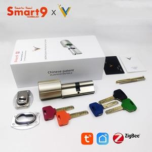 Image 5 - Smart9 ZigBee חכם מנעול Core צילינדר עבודה עם TuYa ZigBee רכזת, סוללה מופעל ושבב מוצפן מפתחות מופעל על ידי TuYa