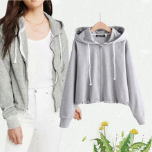 Womens pull-rope sportswear, leisure grey hoodie, comfortable simple sweater, the latest style in 2019
