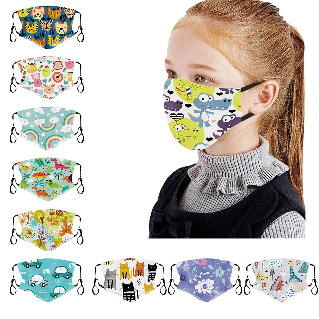 3PC Children Fashion Printing In Stock Funny Printed Breathable maske Washed Reusable maska For Face Cover Mascarillas #L30