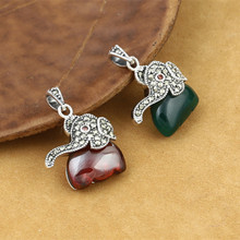 925 Sterling Silver Jewelry Retro Thai Silver Male Men And Women Elephant Marcasite Inlaid Green Agate Red Garnet Pendant недорого
