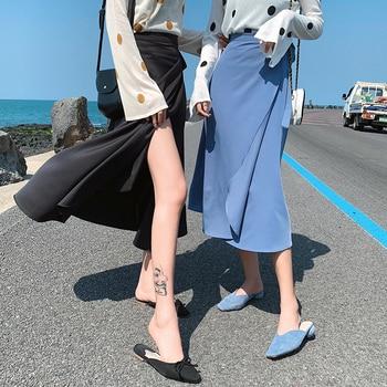 Women Skirt Chiffon Retro One-Piece Lace-Up Korean-Style Summer Pink Lady Split Solid Elegant 2020 New Beach Wrap Skirt Femme retro style women s lace splicing fishtail skirt