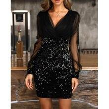 Полупрозрачное Сетчатое облегающее платье с блестками женское
