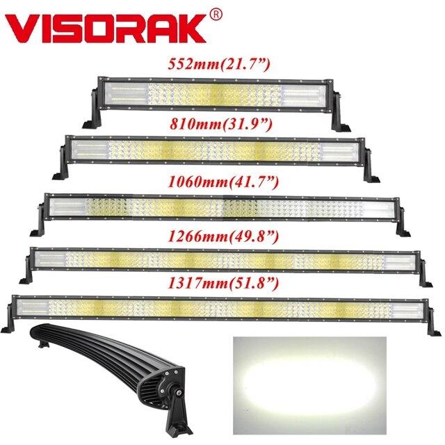 VISORAK 22 32 42 50 52 بوصة مستقيم منحني ATV LED قضيب مصابيح عملي 4x4 4wd الطرق الوعرة عمود إضاءة LED لسيارة 4WD 4x4 شاحنة SUV ATV جرار