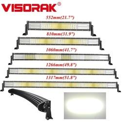 VISORAK 22 32 42 50 52 barra de luces LED curvada recta de cuatro filas 4x4 4wd Barra de luces LED todoterreno para coche 4WD 4x4 camión SUV ATV Tractor