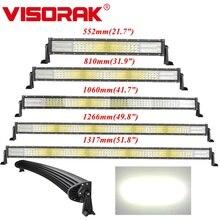 VISORAK barre lumineuse droite incurvée de travail, taille 22 32 42 50 52 pouces, pour tracteur ATV LED, 4x4 4wd tout terrain barre de LED pour voiture 4WD 4x4 camion SUV ATV