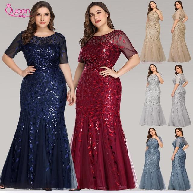 ערב שמלות בתוספת גודל ארוך המפלגה שמלות בת ים גבוהה צוואר רוכסן חזרה באורך רצפת שמלות נשף פאייטים ערב שמלות 2020