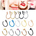 1Pcs U Stainless Steel Fake Nose Ring Hoop Studs Septum Rings Bulk Earring For Women Fake nose Piercing Body Jewelry Gift