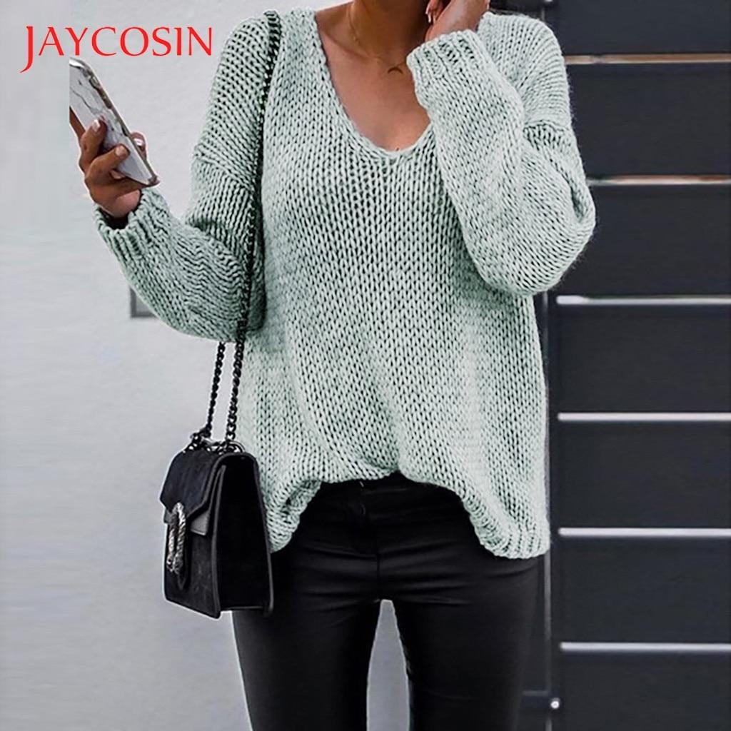 Jaycosin 2020 Autumn Winter Knitted sweater women Pullover Ladies Slim Loose Long Sleeve Sweater Tops Knitwear pull femme jumper