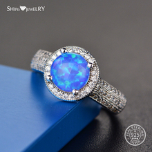 Shipei Silver 925 Round Opal Ring for Women Fine Jewelry 100% Sterling Engagement Wedding Valentines Gift