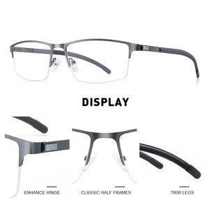 Image 2 - MERRYS DESIGN Men Titanium Alloy Glasses Frame Half Optical Frame Myopia Prescription Optical Eyewear Alloy Rubber Temples S2158