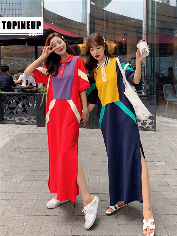 New Contrast Color Patchwork POLO Collar T-shirt Dresses For Women Maxi Long Dress 2019 Casual Straight Dress Female Clothes