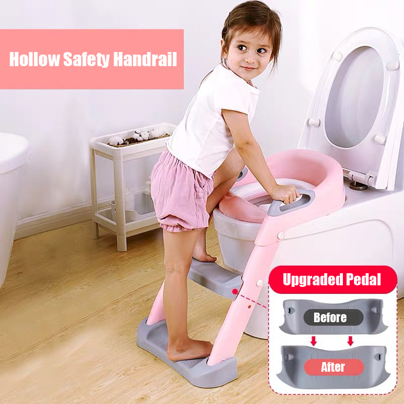 Folding Infant Potty Seat Urinal Backrest Training Chair with Step Stool Ladder for Baby Toddlers Boys Girls Safe Toilet Potties 5