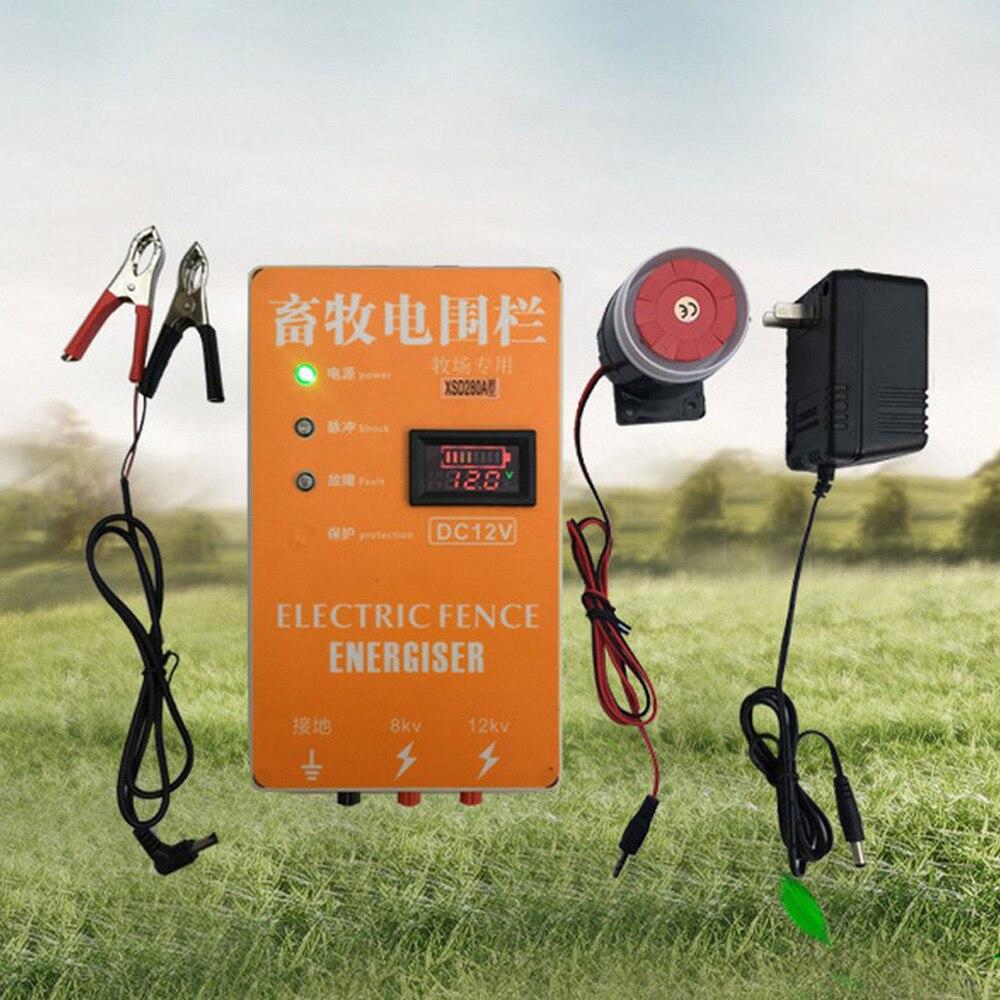 Электрическое зарядное устройство для ограждения, 5/10/20 км, Высоковольтный импульсный контроллер для овец, лошадей, домашней птицы