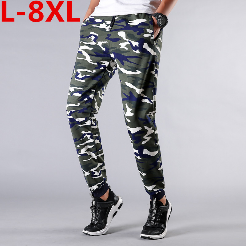 Large Size 8XL 7XL Fashionable Men Casual Long Pants Comfortable Solid Color Daily Wearing Elastic Waist Camouflage Long Pants