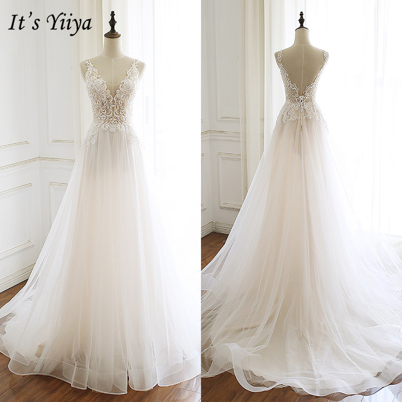 It's Yiiya   Evening     Dress   2019 Sleeveless Lace Train A-Line   Dresses   Elegant Long Party   Dresses   Robe de Soiree Plus Size E947