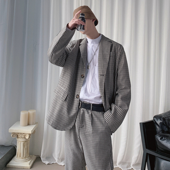 2020 Spring And Autumn New Korean Version Of The Houndstooth Suit Suit Fashion Casual Loose Suit Two-piece Dark Gray M-XL