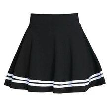 여름 2020 여성 스커트 탄성 팔다 숙녀 미디 스커트 Pleated 블랙 섹시한 줄무늬 소녀 미니 짧은 학교 스커트 saia feminina