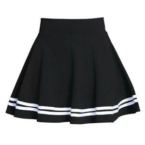 Image 1 - 여름 2020 여성 스커트 탄성 팔다 숙녀 미디 스커트 Pleated 블랙 섹시한 줄무늬 소녀 미니 짧은 학교 스커트 saia feminina