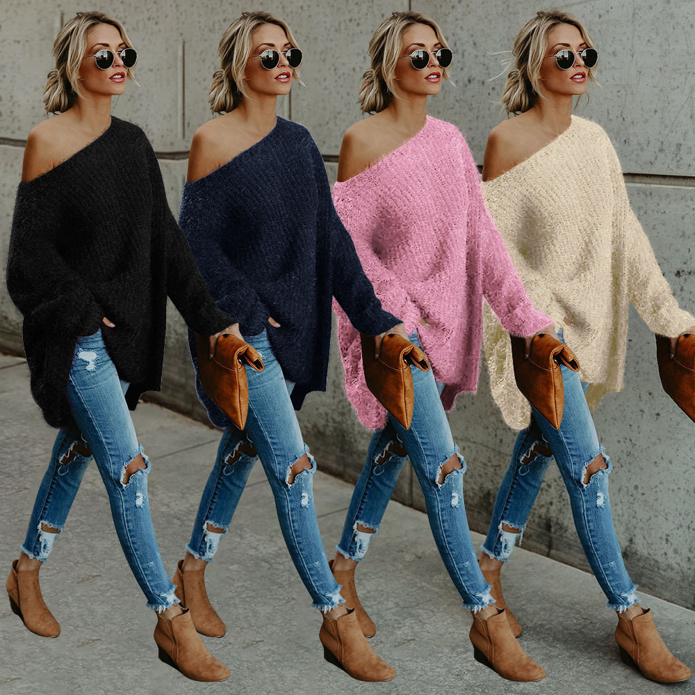 Warm Autumn Women Casual Loose Long-Sleeved With Shoulders Knitted Sweater New Women's Large Plush Long-sleeved Shoulder Sweater