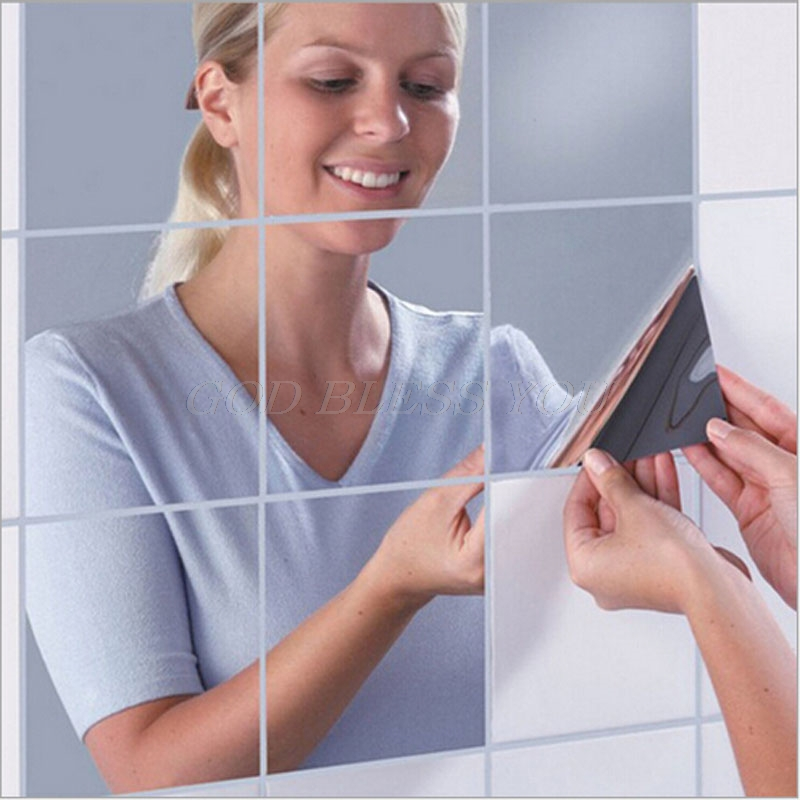 16 X Self Adhesive Mirror Tiles Wall Stickers High Gloss 15x15cm Room Home Art Wallpapers