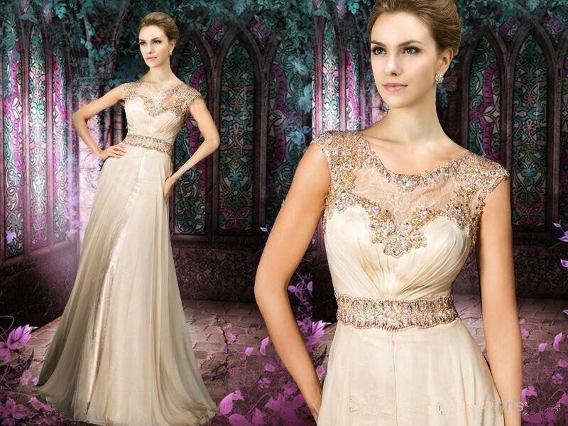 Long Elegant Prom Dresses WIth Sleeves Vestidos De Fiesta 2014 Scoop Neckline Light Champagne Special Occasion Dresses