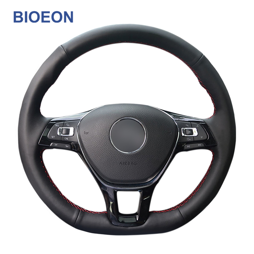 Black PU Artificial Leather Hand Sewing <font><b>Car</b></font> Steering <font><b>Wheel</b></font> <font><b>Covers</b></font> for Volkswagen VW <font><b>Golf</b></font> <font><b>7</b></font> (VII) <font><b>Golf</b></font> Sportsvan(SV) Polo Tiguan image