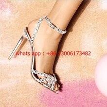 INS letnia kobieta z wystającym palcem dżetów sandały na szpilkach design marka 10CM szpilki kolorowe strasy kobieta sandał