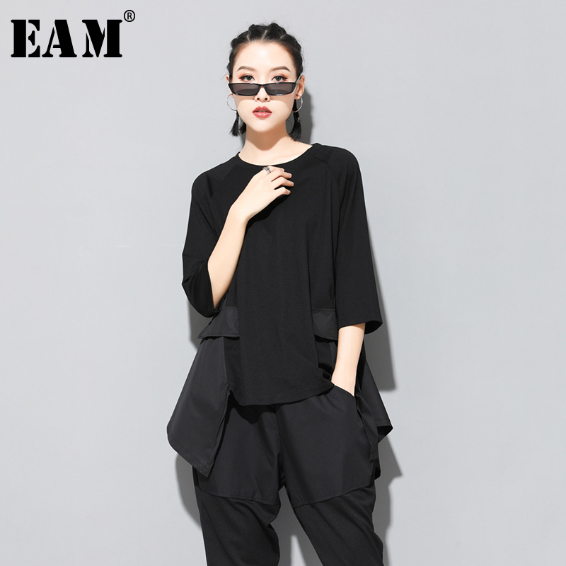 [EAM] 2020 New Spring Summer Round Neck Three Quarter Sleeve Red Irregular Hem Stitch Big Size T-shirt Women Fashion Tide JT153