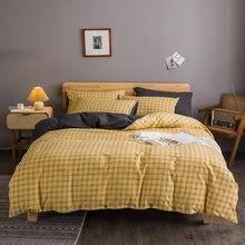 Комплект постельного белья в желтую клетку с декоративными пуговицами