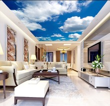 все цены на Ceiling Murals Wall Art Painting Living Room Bedroom Ceiling Backdrop Wallpaper 3D White clouds  blue sky  mural ceiling онлайн