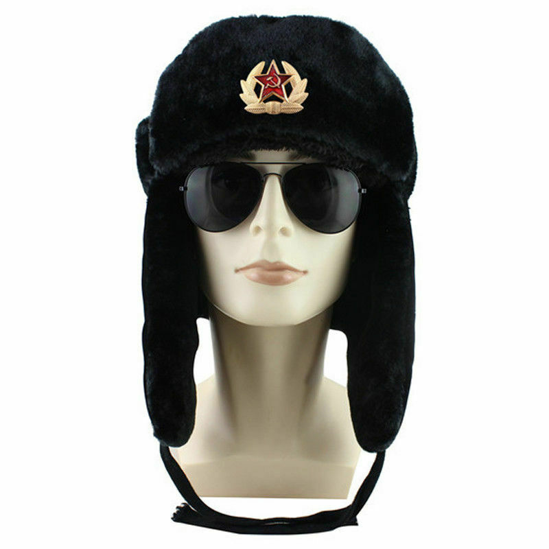 USSR army soldier winter caps Russian fur hat Authentic Soviet ushanka Badge