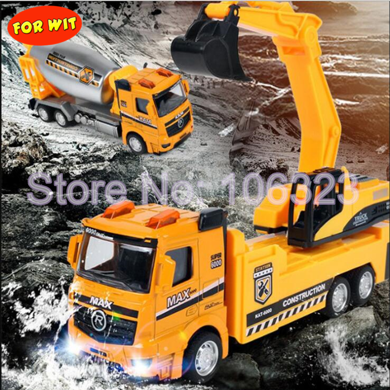 Partical Metal Diecasts Truck Toys Pull Back with Music Flashing, 1:43 15 Style Simulating Sanitation Rescue Vehicle Cars Models