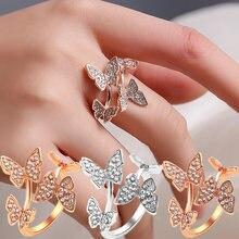 Модные кольца с четырьмя бабочками открытые кристаллами и крыльями